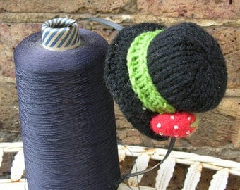 Black Knitted Mini Top Hat Fascinator Hairband with Strawberry