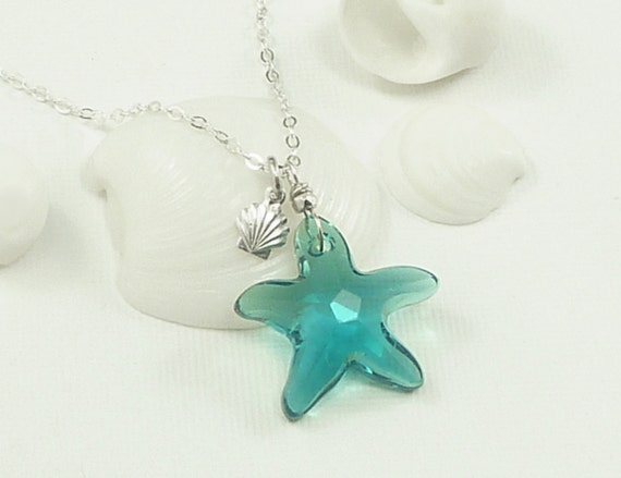 Caribbean Blue Swarovski Star Fish Necklace Sterling Silver Sea Shell Charm  - Getaway Vacation Ocean Beach Jewelry