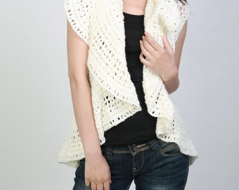 Hand crochet sweater vest Cream white sweater ruffle collar