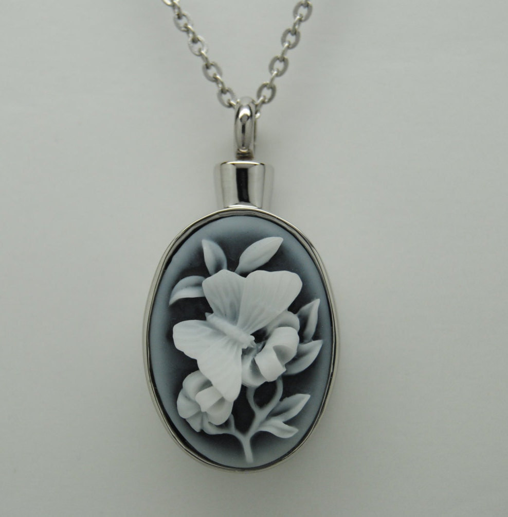 butterfly cremation jewelry engravable urn necklace pendant