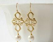 Pearl Cross Dangle Earrings Valentine