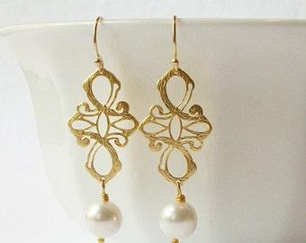 Pearl Earrings, Pearl Cross Dangle Earrings , Wedding Jewelry Bridesmaid Gift