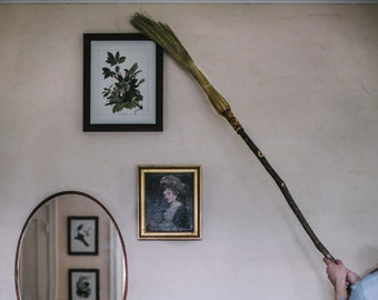 Cobweb Broom / Small Ritual Besom - Only Available In Natural Color - Cobb Broom - Ceiling Broom - Corner Besom