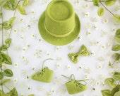 Newborn baby boy photo prop felted set - Fresh green hat Baby booties Baby bow tie Infant photography props Little gentleman set