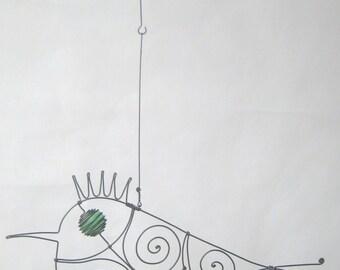 Animal Sculpture / Green - Eyed Wire Bird
