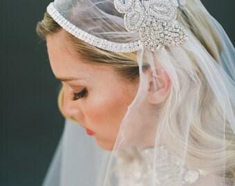 Crystal Veil, Bridal Veil, Juliet Cap Veil, Juliet Veil, Silver Beading Veil, Wedding Veil, Beaded Veil, BOHO Veil, Chapel Length #1101