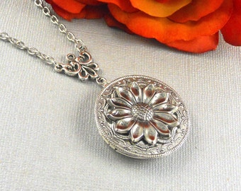 Victorian Locket, Silver Locket, Flower Statement Locket, Sunflower Antique Style Floral Silver Steampunk Locket Necklace