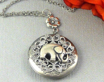 Elephant Locket Necklace Silver Locket Jewelry Women's Locket Bridesmaid Locket Wedding Jewelry Lucky Elephant Gift Mother's Day Gift