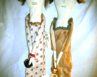 Handmade Primitive Folk Art Doll - Vasalissa and Tilda -  The Bell Sisters