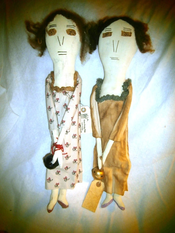 Handmade Primitive Folk Art Doll - Vasalissa and Tilda -  The Bell Sisters