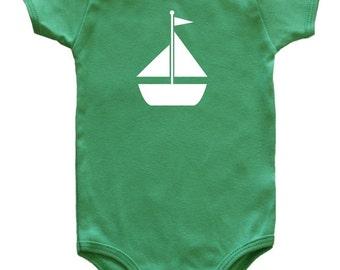 Transportation Silhouette Baby Bodysuit-Sailboat