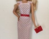 Handmade Barbie Clothes Retro Dress Belt Clutch