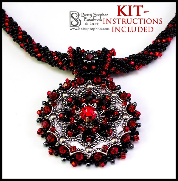 Metallia necklace kit red bead embroidery weaving