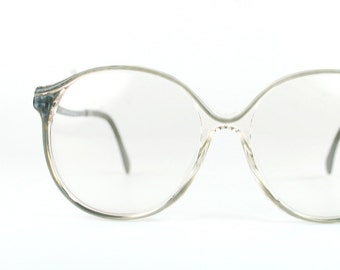 Round Oversized Retro Clear Eyeglasses 1970s Circular Gray Modern Indie Boho Chic Women RX Frame Germany