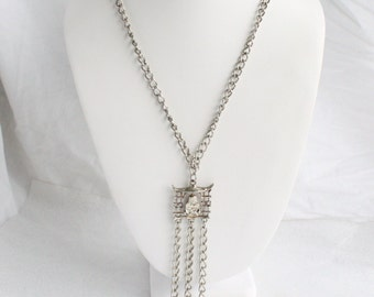 Silver Tassels Pendant Necklace Vintage Buddha Pagoda Chains Tassels Silver Finish