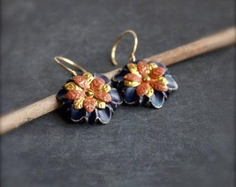 Blue Orange Flower Dangle Drop Earrings Terracotta Navy Rustic Patina Floral Garden Riveted Boho Jewellery