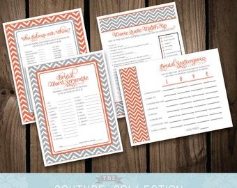 Bridal Shower GAME PACKAGE of 4 games - Coral and Grey or Gray Modern Chevron Bridal Shower Games - Printable DIY Digital File