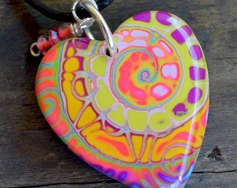 Heart Pendant, Neon Swirl Healing Heart  Pendant on  Leather Cord, Healing Heart, Heart Jewelry