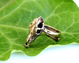 SALE - Bronze Horse Skull Ring 426