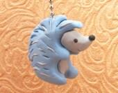Blue Hedgehog Fan Pull Chain - Woodland Nursery Decor - Blue - Polymer Clay
