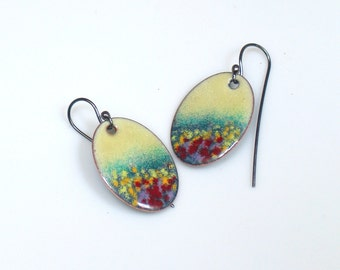 Colorful Garden Earrings, Flower Meadow Impression, Artisan Original Enameled Dangle Earrings, Handmade Vitreous Enamel Sterling Earwires