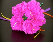 Day of the Dead HOT PINK Carnations Paper Flowers -  Vibrant and Necessary for your Altar- bunch of 5 with one stem