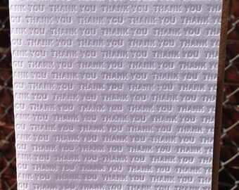 Thank You Letterpress Greeting Card - Blind Impression Collection *NEW* Vertical Design (single)