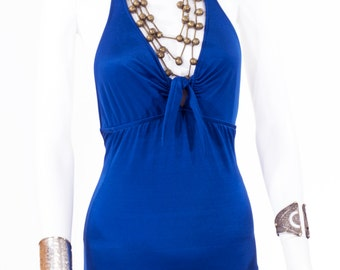 Blue Halter Swimsuit / Plunging V Pinup One Piece Vintage Bodysuit Bathing Suit
