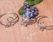 Set of 3 sterling silver midi rings, boho rings set, adjustable silver midrings, above knuckle rings, mid finger rings, silver toe rings