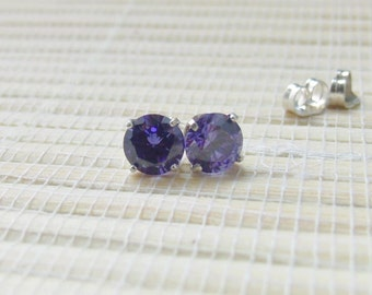 Cubic Zirconia Stud Earrings Sterling Silver Tanzanite 6mm