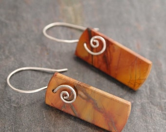 Hand Forged Silver and  Stone Earrings