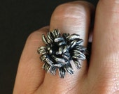Silver Chrysanthemum Ring - Sterling Silver - Brutalist Revival Ring - hand carved from wax and cast in my Studio - jewelry made in austin