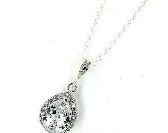 Crystal teardrop pendant necklace wedding vintage style silver tear pear drop crystal bridal necklace Art Deco Baroque