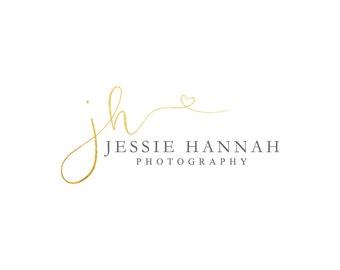 Gold Logo Photography Logo Heart Logo Photography Watermark Makeup Artist Logo Lash Logo Hair Stylist Logo Blog Logo Branding Package