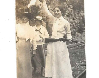 I Surrender vintage photo Pretty Teen Girl Woman with Long Gun Waving White Flag 1910s snapshot