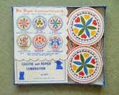 Vintage Paper Napkins, Pennsylvania Dutch, Hex Signs, Vintage Coasters, Colorful, Beverage Coasters, Paper Serviettes, NOS, New Old Stock