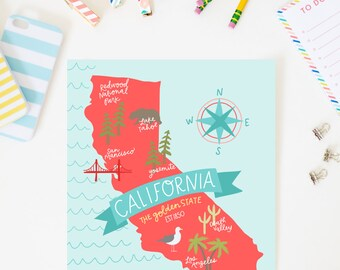 State Map California Art Print AZ125
