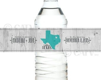 W117 Water Bottle state love Labels Custom with YOUR COLORS wedding date personalized names self adhesive water proof