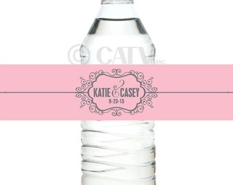 W119 fancy Water Bottle  Labels Custom with YOUR COLORS wedding date personalized names self adhesive water proof classy