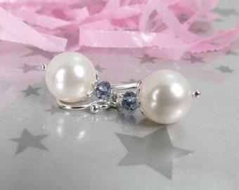 Pearl Bridesmaid Earrings - Swarovski White Pearl Jewelry - Sterling Silver Pearl Earrings - Wedding Jewelry