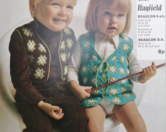 Vintage Crochet Pattern 1970s Childrens Waistcoats Granny Squares Hippy Style Tunic Tops - 70s UK original pattern for girls and boys