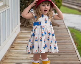 Paddington Inspired Flutter Sleeve Dress