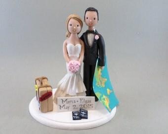 Bride & Groom Custom Travel Theme Wedding Cake Topper