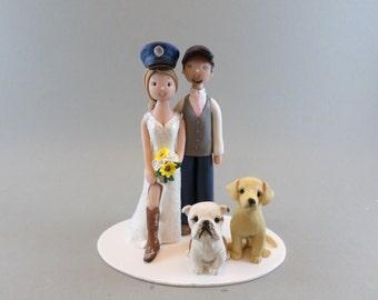 Wedding Cake Topper - Custom Made Bride & Groom with Dogs