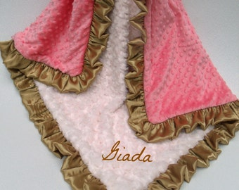 Cream, Gold, and Coral Pink Dot Minky Baby Blanket Can Be Personalized