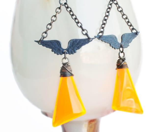 Neon Orange Earrings Vintage Orange Prism Dangles Wing Earrings Wire Wrapped Bright Orange Jewelry Wing Statement Geometric Jewelry