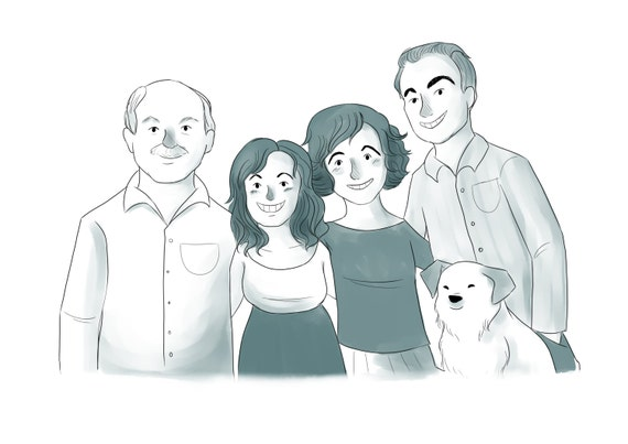 Items similar to Custom Family Portrait Cartoon (Simple ...