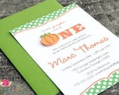 Pumpkin Invitations · A6 FLAT · Clover Green and Orange · Birthday Party | First Birthday | Polka Dot
