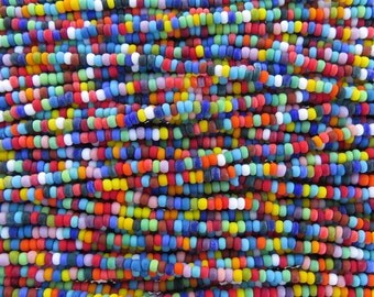8/0 Matte Opaque Color Mixed Czech Glass Seed Bead Strand (CW62)