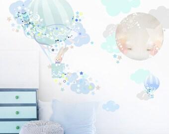 Hot Air Balloon Fabric Decal Wall Stickers - Bunny, Animal, boys night bedroom wall sticker